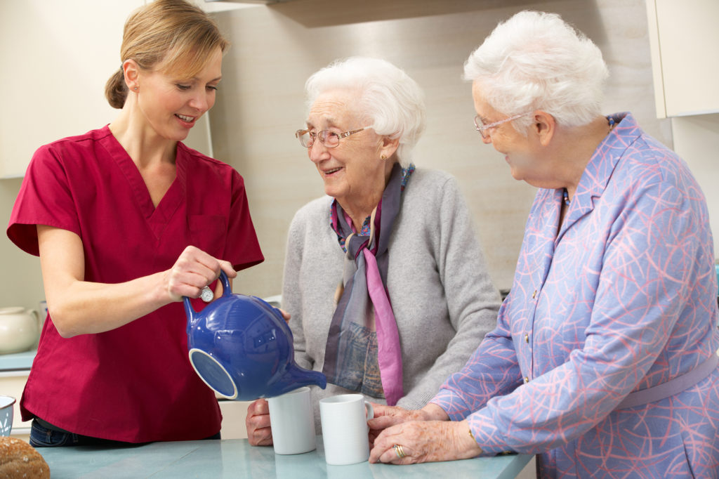Staying at home with a live-in carer promotes wellbeing and social interaction with friends and family.
